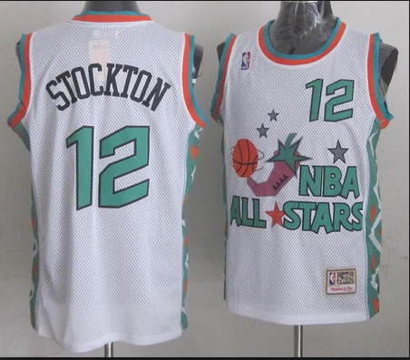 NBA 1996 All-Star East #12 John Stockton White Retro Soul Swingman