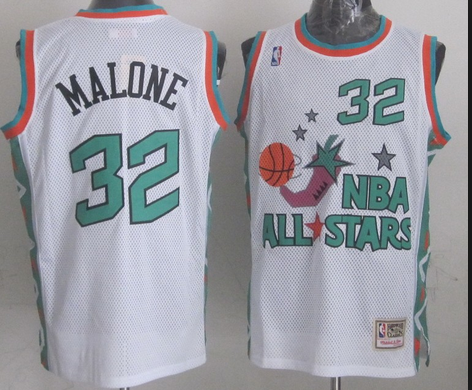 NBA 1996 All-Star East #32 Karl Malone White Retro Soul Swingman