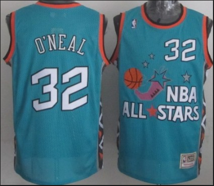 NBA 1996 All-Star East #32 Shaquille O'Neal Teal Green Retro Soul Swingman