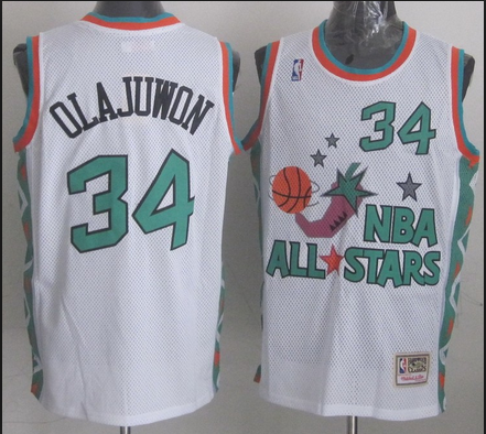 NBA 1996 All-Star East #34 Hakeem Olajuwon White Retro Soul Swingman