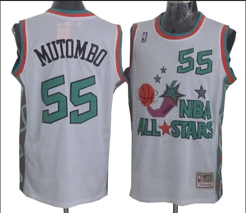 NBA 1996 All-Star East #55 Dikembe Mutombo White Retro Soul Swingman