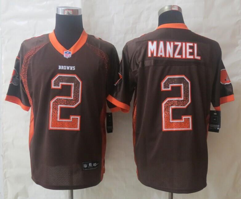2014 New Nike Cleveland Browns 2 Manziel Drift Fashion Brown Elite Jerseys