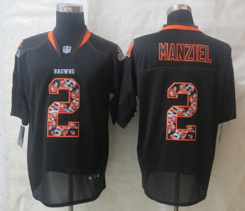 2014 New Nike Cleveland Browns 2 Manziel Lights Out Black Elite Jerseys