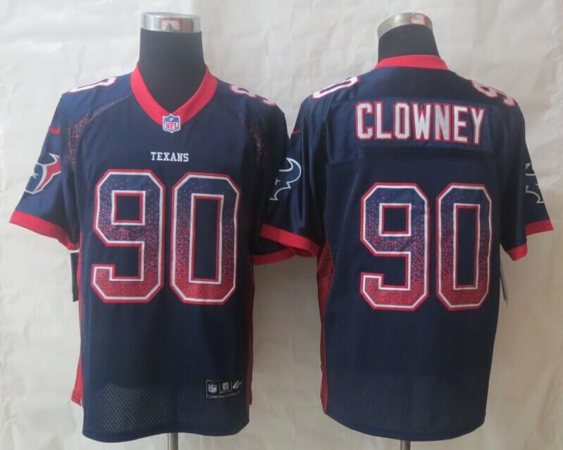 2014 New Nike Houston Texans 90 Clowney Drift Fashion Blue Elite Jerseys
