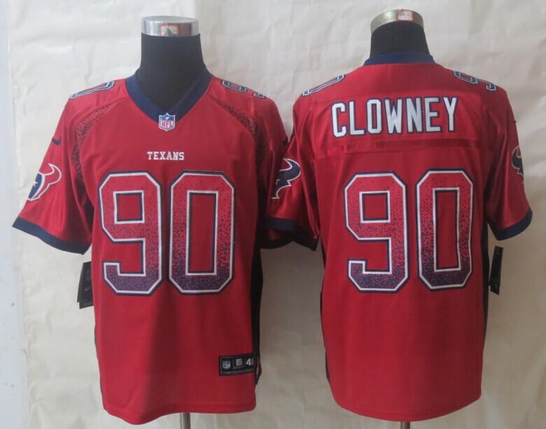 2014 New Nike Houston Texans 90 Clowney Drift Fashion Red Elite Jerseys