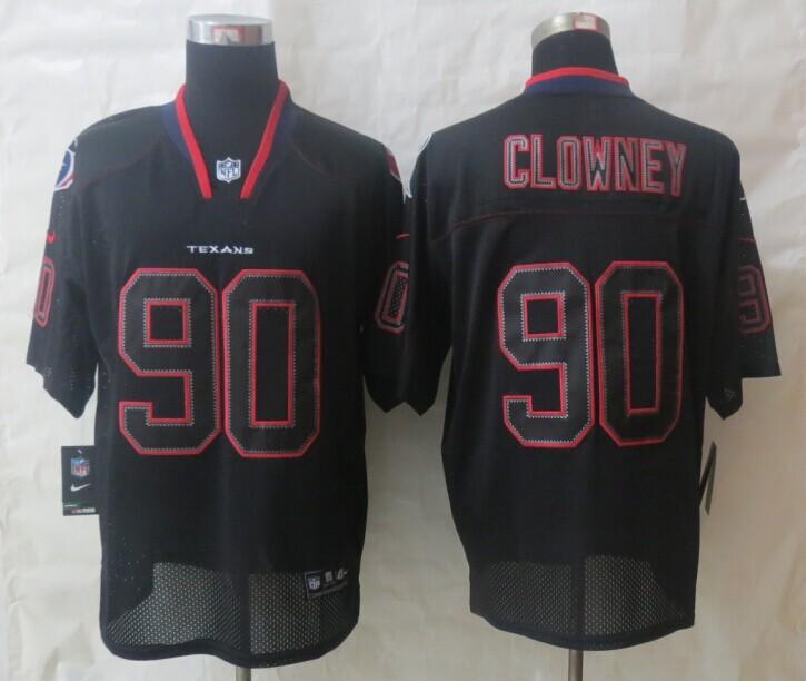 2014 Nike Houston Texans 90 Clowney Lights Out Black Elite Jerseys
