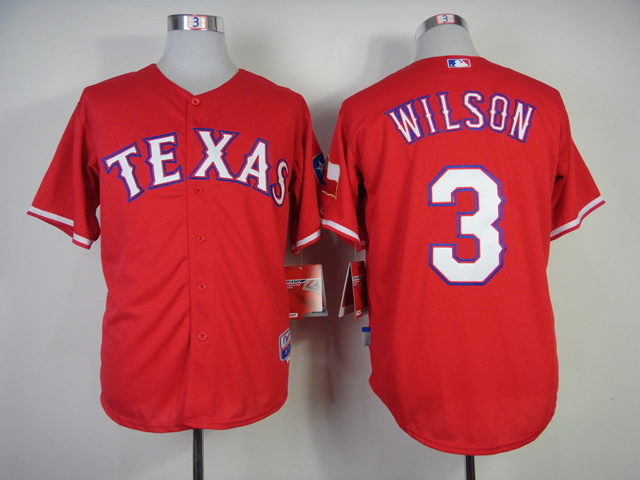Texas Rangers #3 Wilson Red Baseball Jerseys Cool base Jersey