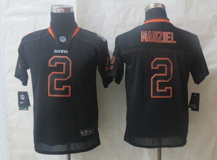 Youth 2014 Nike Cleveland Browns 2 Manziel Lights Out Black Elite Jerseys