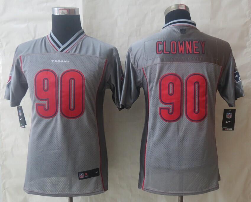 Youth 2014 NEW Nike Houston Texans 90 Clowney Grey Vapor Elite Jerseys