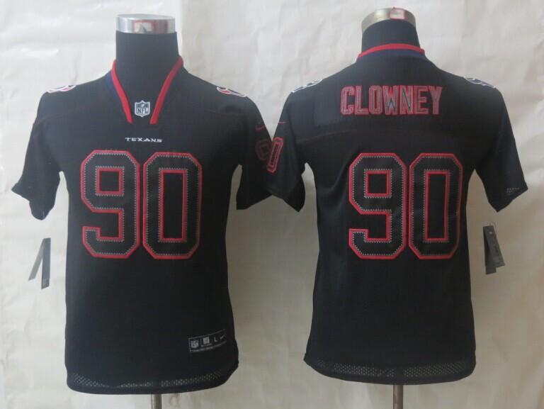 Youth 2014 Nike Houston Texans 90 Clowney Lights Out Black Elite Jerseys