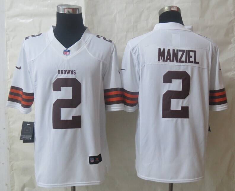 Nike Cleveland Browns 2 Manziel White Limited Jerseys