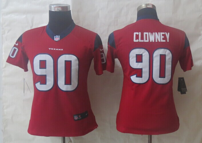 Women Nike Houston Texans 90 Clowney Red Limited Jerseys