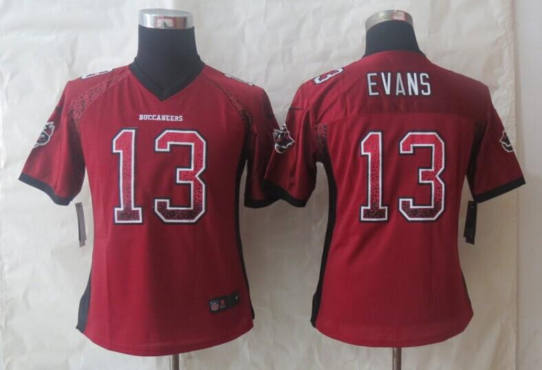 Women 2013 New Nike Tampa Bay Buccaneers 13 Evans Drift Fashion Red Elite Jerseys