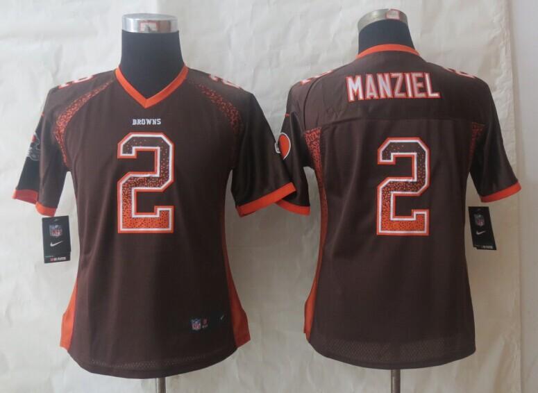 Women 2014 New Nike Cleveland Browns 2 Manziel Drift Fashion Brown Elite Jerseys