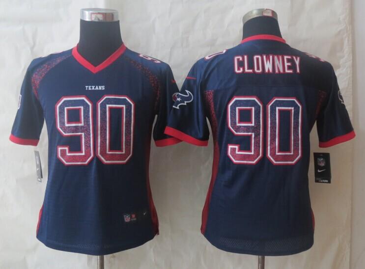 Women 2014 New Nike Houston Texans 90 Clowney Drift Fashion Blue Elite Jerseys