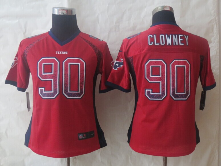 Women 2014 New Nike Houston Texans 90 Clowney Drift Fashion Red Elite Jerseys