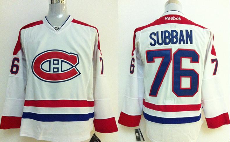 NHL Jerseys Montreal Canadiens 76# Subban White jerseys