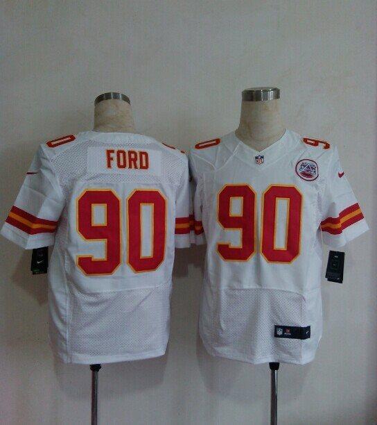 Nike NFL Kansas CityChiefs 90 Ford white Elite Jerseys