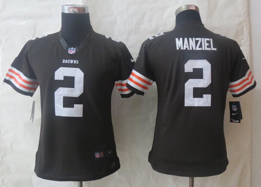 Women Nike Cleveland Browns 2 Manziel Brown Limited Jerseys