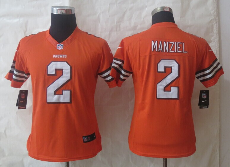 Women Nike Cleveland Browns 2 Manziel Orange Limited Jerseys
