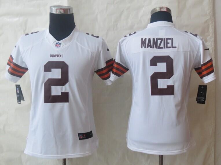 Women Nike Cleveland Browns 2 Manziel White Limited Jerseys