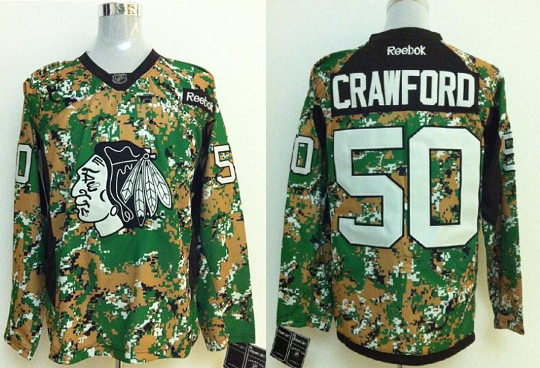 2014 NHL Chicago Blackhawks 50 Crawford Camo Jersey