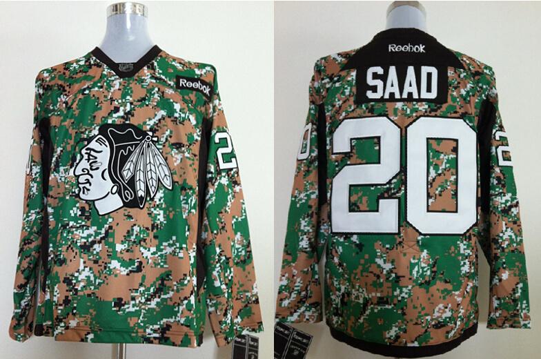 2014 NHL Chicago Blackhawks 20 Saad Camo Jersey