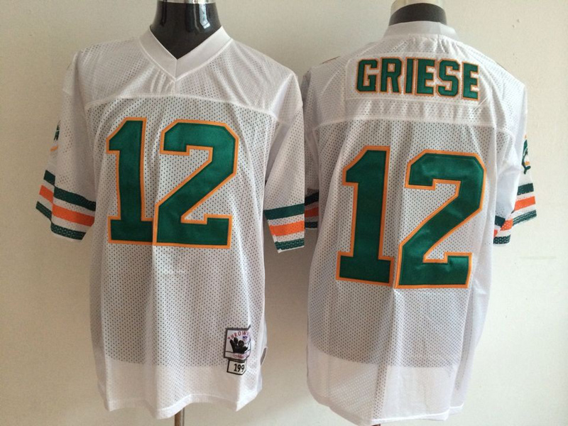 Miami Dolphins #12 Bob Griese white Throwback NFL Jersey