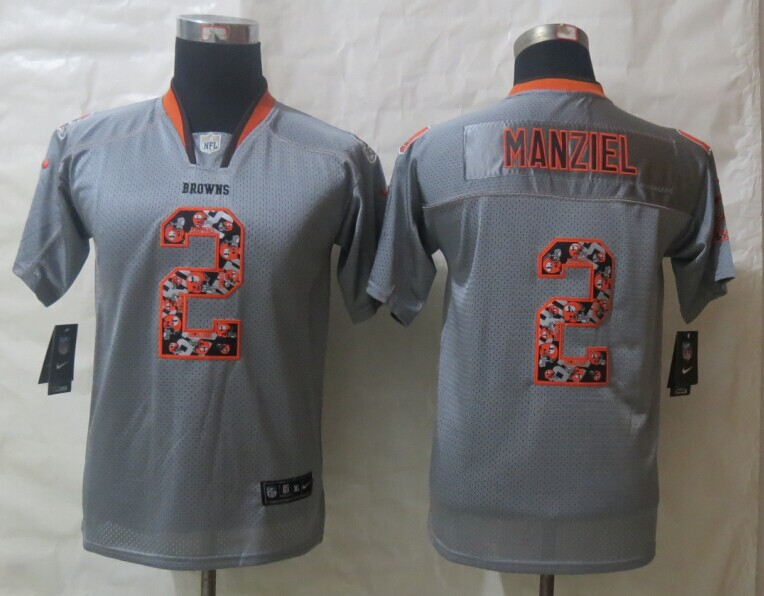 Youth 2014 New Nike Cleveland Browns 2 Manziel Lights Out Grey Elite Jerseys