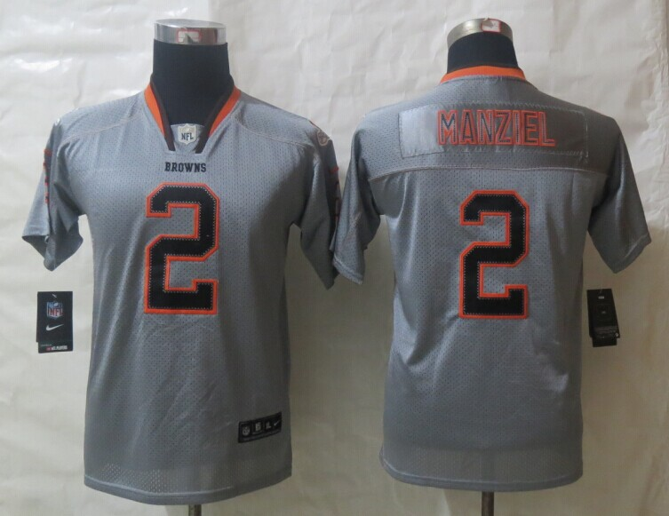Youth 2014 Nike Cleveland Browns 2 Manziel Lights Out Grey Elite Jerseys