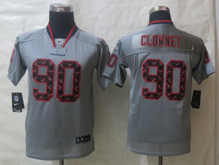 Youth 2014 New Nike Houston Texans 90 Clowney Lights Out Grey Elite Jerseys