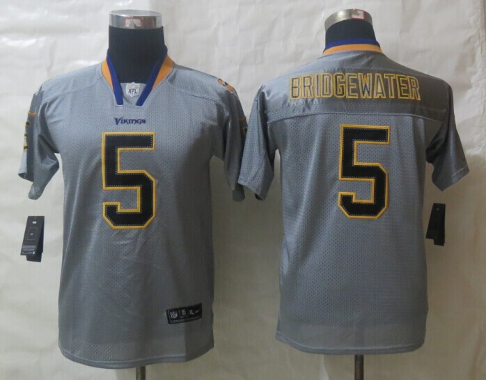 Youth 2014 Nike Minnesota Vikings 5 Bridgewater Lights Out Grey Elite Jerseys