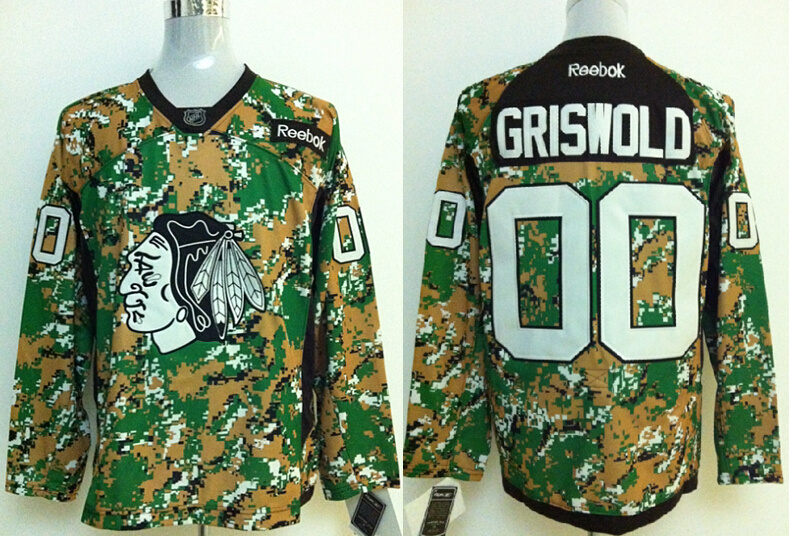 2014 NHL Chicago Blackhawks 00 Griswold Camo Jersey