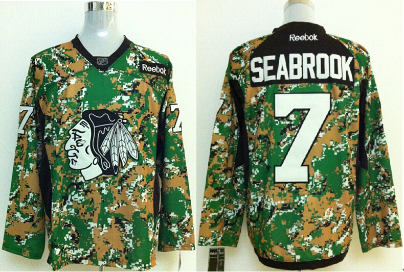 2014 NHL Chicago Blackhawks 7 Seabrook Camo Jersey