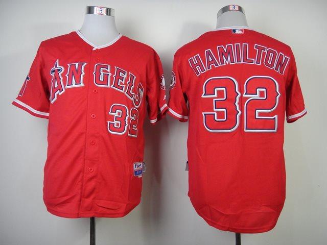 MLB Los Angeles Angels 32 Josh Hamilton Red Jersey