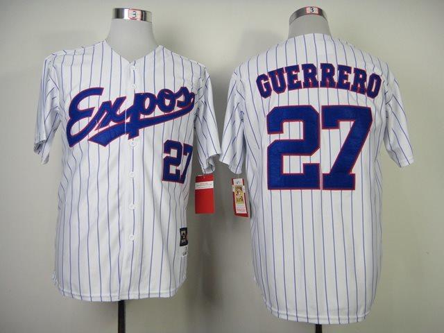 MLB Montreal Expos 27# Guerrero Pinstripe white jerseys