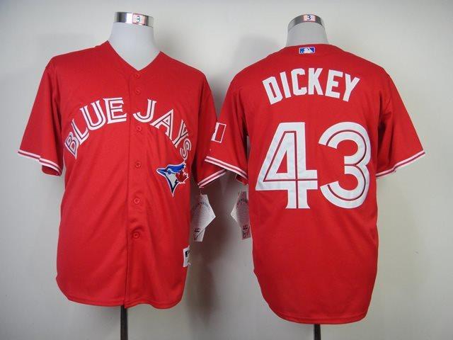 MLB Toronto Blue Jays 43 Dickey Red Baseball Jersey