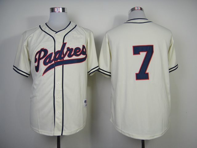 San Diego Padres 7 Headley cream jerseys