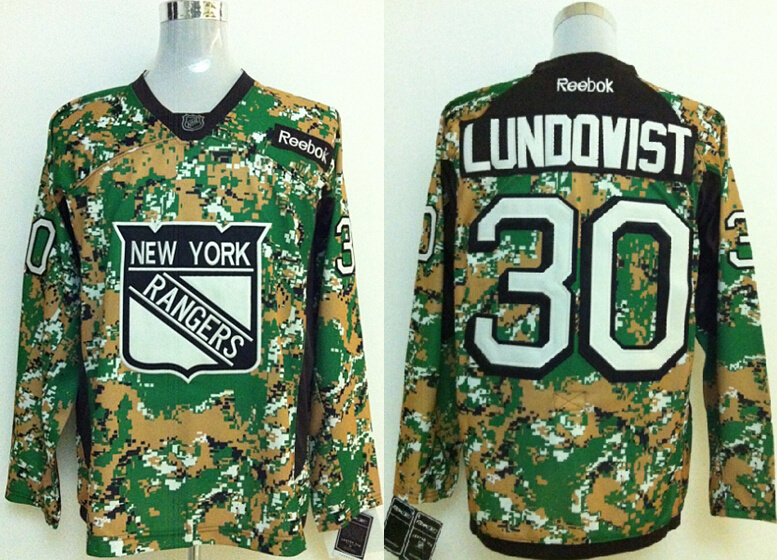 2014 NHL New York Rangers #30 LUNDOVIST Camo jerseys