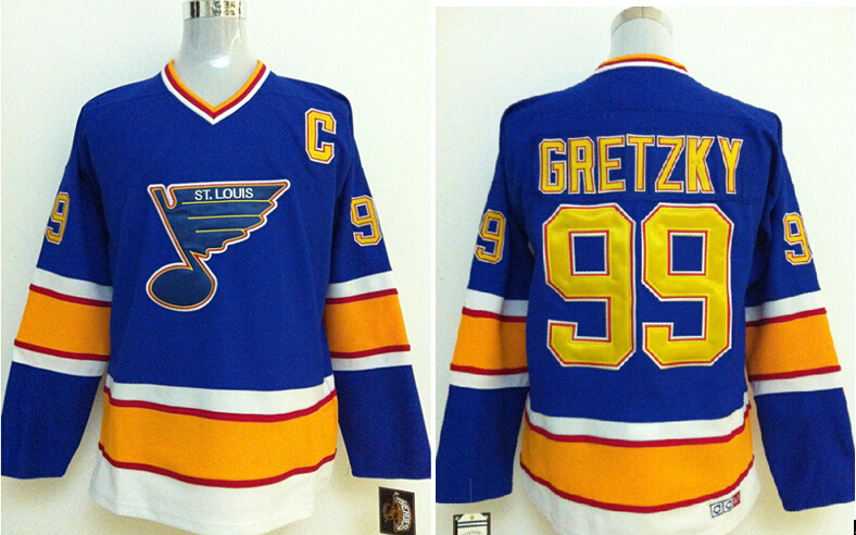 2014 NHL St.Louis Blues 99 GRETZKY Blue jerseys