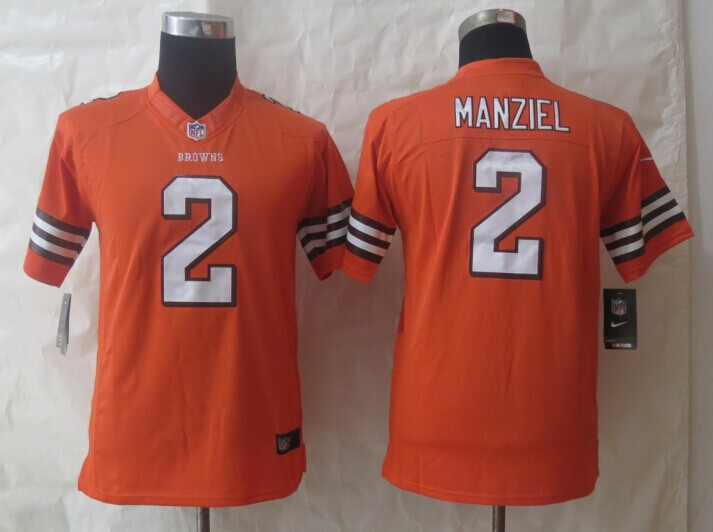 Youth Nike Cleveland Browns 2 Manziel Orange Limited Jerseys