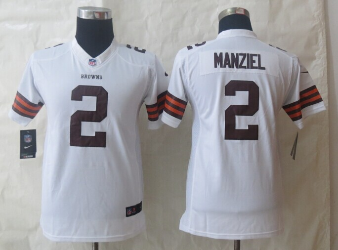 Youth Nike Cleveland Browns 2 Manziel White Limited Jerseys