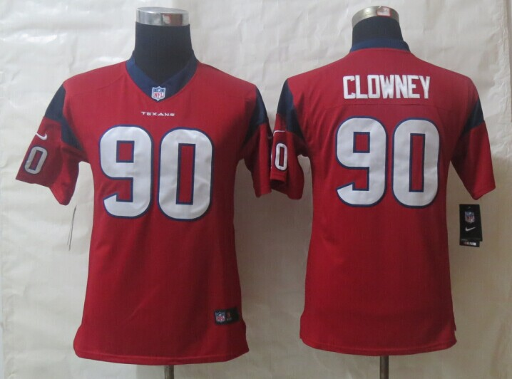 Youth Nike Houston Texans 90 Clowney Red Limited Jerseys