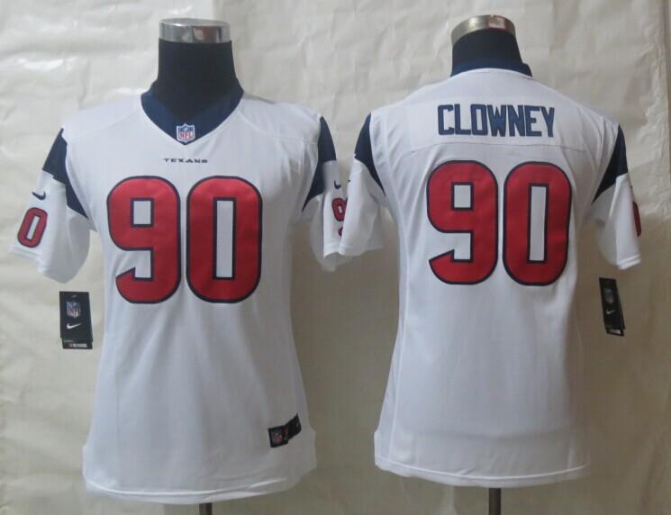Youth Nike Houston Texans 90 Clowney White Limited Jerseys