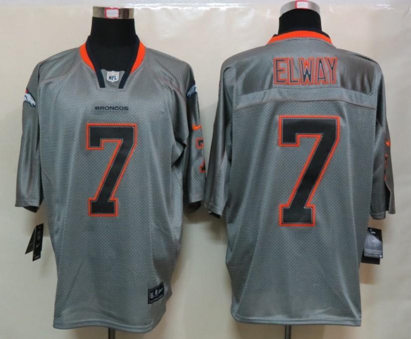 New Nike Denver Broncos 7 Elway Lights Out Grey Elite Jersey