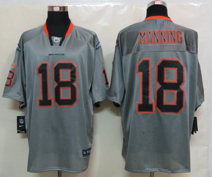 New Nike Denver Broncos 18 Manning Lights Out Grey Elite Jersey