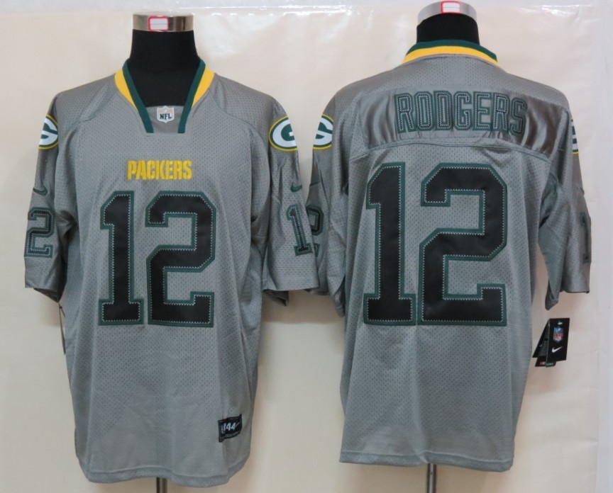 New Nike Green Bay Packers 12 Rodgers Lights Out Grey Elite Jersey