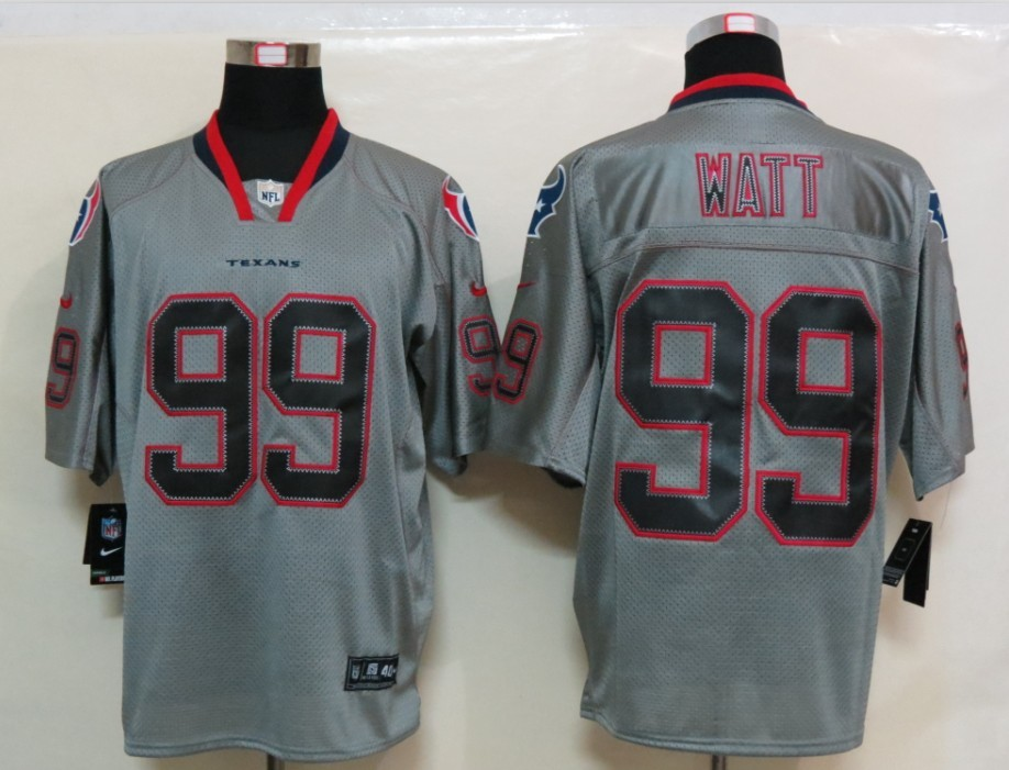 New Nike Houston Texans 99 Watt Lights Out Grey Elite Jersey
