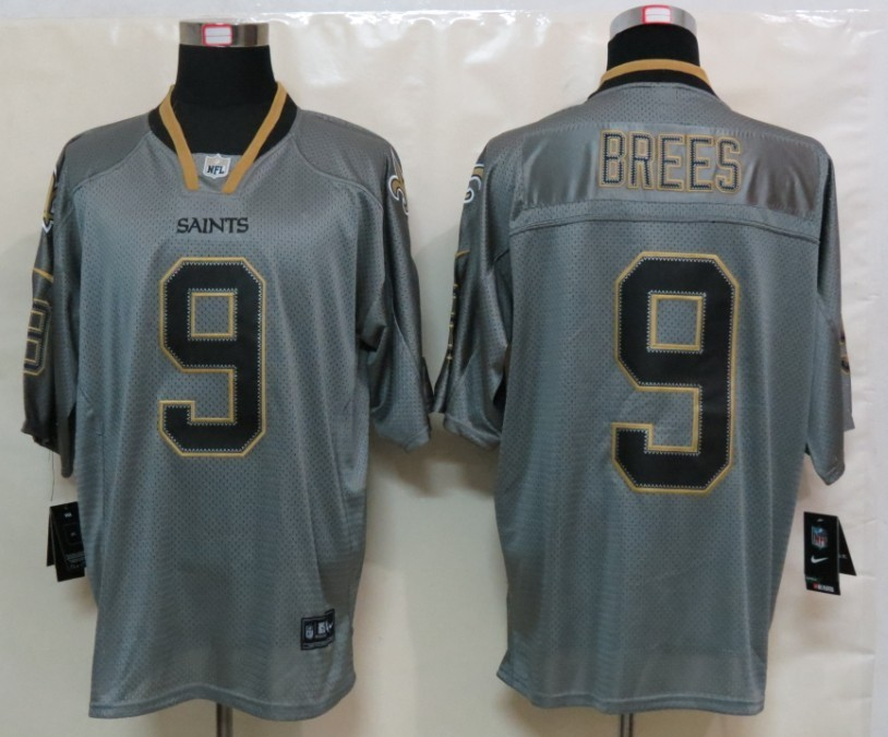 New Nike New Orleans Saints 9 Brees Lights Out Grey Elite Jersey