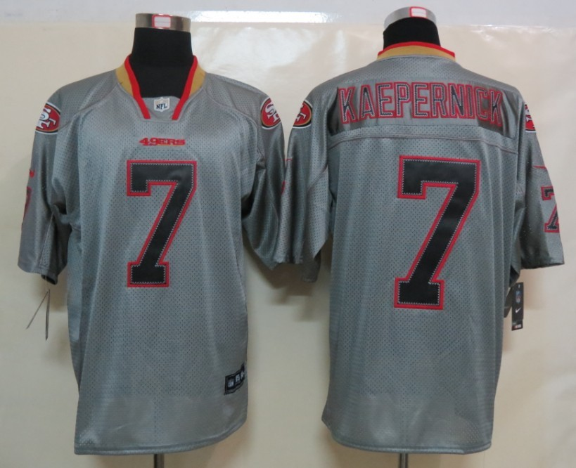 New Nike San Francisco 49ers 7 Kaepernick Lights Out Grey Elite Jerseys